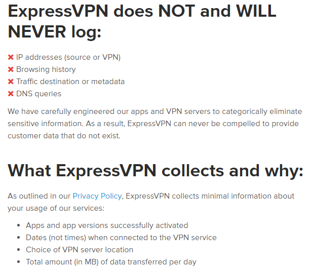 ExpressVPN Privacy Towards Logs