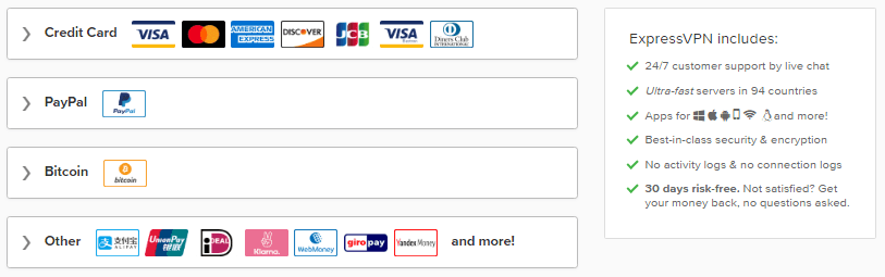 ExpressVPN Payment Methods