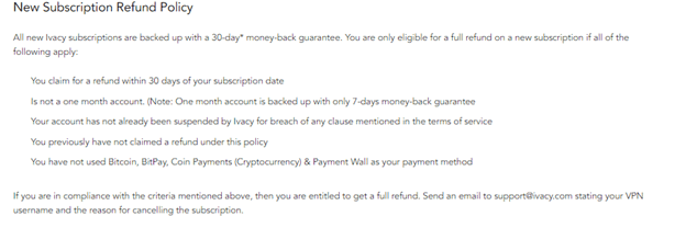 Ivacy Refund Policy