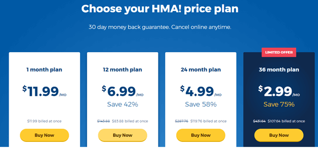 HideMyAss VPN Pricing and Discount