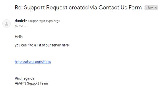 AirVPN Customer Support Response