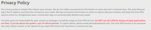 VPNBook Privacy and Logging Policy